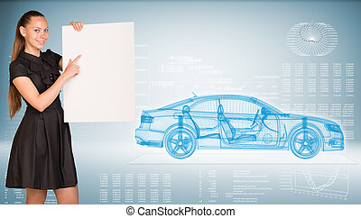 Businesswoman holding empty paper. Wire-frame car and graphs...