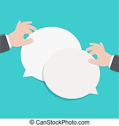 Vector modern flat bubble speech on blue background....