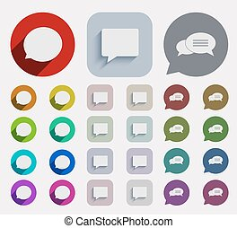 Vector flat bubble speech icons set. circle and square...