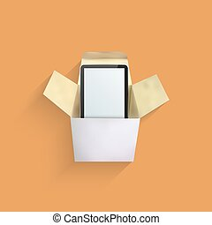 Vector modern computer tablet in box.