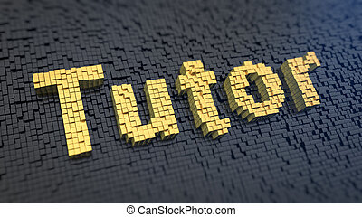 Tutor cubics - Word Tutor of the yellow square pixels on a...