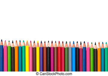Close-up of colored pencils isolated in white background