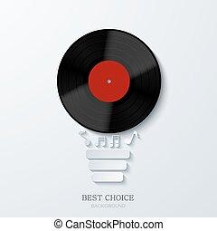 Vector modern concept light bulb and vinil. Music...