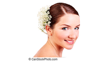 Close up of a smiling bride