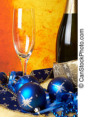 Christmas celebration - Christmas decoration with champagne...