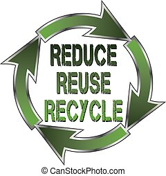 Reduce Reuse Recycle - Illustration of a recycle symbol with...