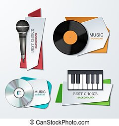 Vector modern music banners set.