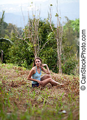 Young woman posing in Koh Samui jungle. Thailand
