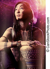 drummer dream - Portrait of the American Indian. Ethnicity...