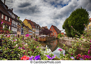 water panorama in Colmar - canal in Colmar in Petit Venice ,...