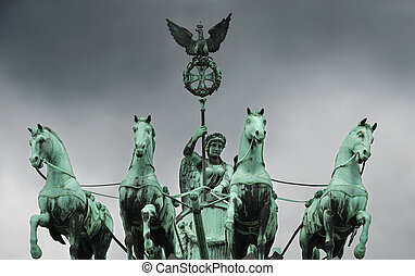 Quadriga - The Quadriga on the Brandenburg gate, Berlin,...