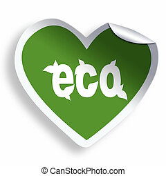 Heart green eco sticker isolated on white