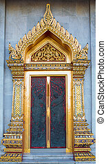 Buddism Temple Door, Thailand - Buddism Temple Door, Bangkok...