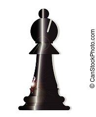 Chess Bishop - The bishop from a chess set over a white...