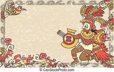 horizontal, Plano de fondo, estilo, azteca
