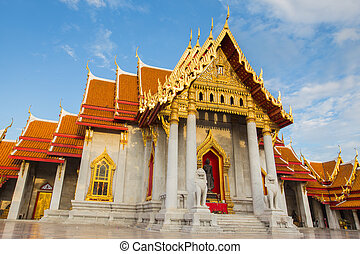 Marble Temple, Bangkok Thailand - Front of Marble Temple,...
