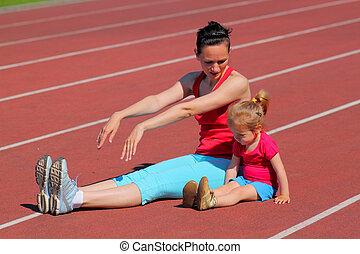 madre, y, poco, hija, ser, ocupado, en, Funcionamiento, en,...