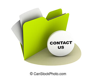 contact us button - illustration of a folder with contact us...