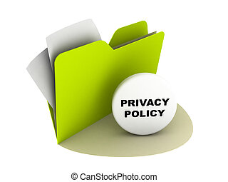 privacy policy button - illustration of a folder with...