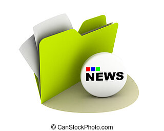 news button - illustration of a folder with news button