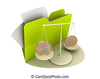 Euro and Dollar Coins on the cradle