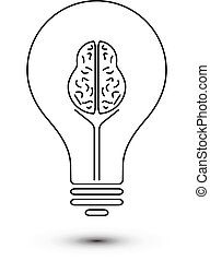 Abstract outline brain light bulb technology icon