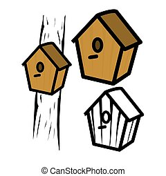 Birdhouse - Vector illustration : Birdhouse on a white...