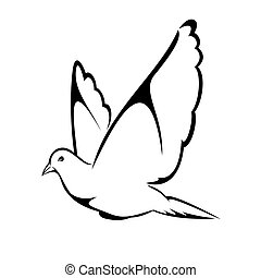 Flying Pigeon - Vector illustration : Flying Pigeon on a...
