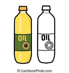 Oil Bottle - Vector illustration : Oil Bottle on a white...
