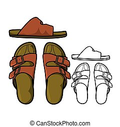 Sandals - Vector illustration : Sandals on a white...
