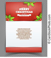 Xmas back with holly leaves - Vector illustration of Xmas...