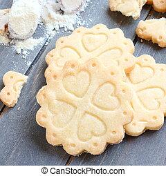 biscoitos, gluten, farinha, livre, caseiro, conchas,...