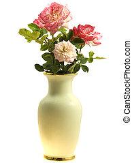 florero, rosas, primavera, flores