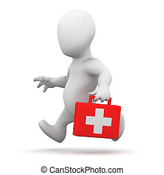 3d Little man running with first aid kit