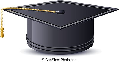 One mortarboard isolated. illustration in vector format