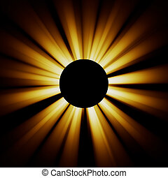 Eclipse - Bright rays diverge from the black circle