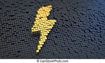 Lightning cubics - Lightning symbol of the yellow square...