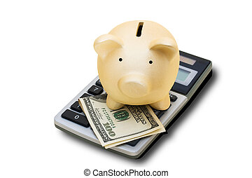 Calculating your Savings - A calculator with hundred dollar...