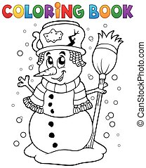 Coloring book snowman theme 1 - eps10 vector illustration