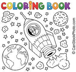 Coloring book space theme 1 - eps10 vector illustration