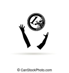 one euro coin in black with hand illustration