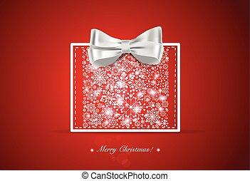 Christmas background with gift box and snowflakes, vector illust