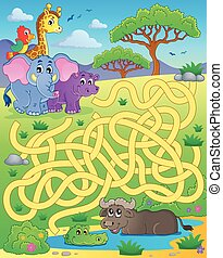 Maze 16 with tropical animals - eps10 vector illustration