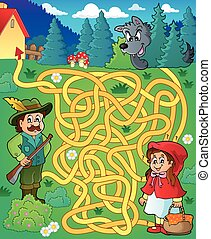 Maze 20 with fairy tale theme - eps10 vector illustration.