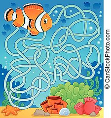Maze 18 with fish theme - eps10 vector illustration.