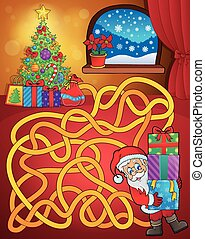 Maze 21 with Christmas theme - eps10 vector illustration