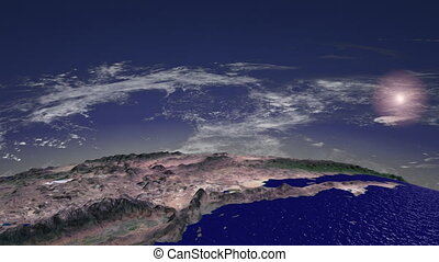 Flight over America. CH. hd - Abstracted flight over North...