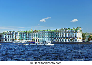 view from the Neva River at the Hermitage Museum, Saint...