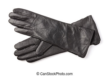 Leather gloves - Pair of black leather gloves isolated on...