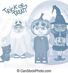 Halloween Children Trick Or Treating In Halloween Costume,...
